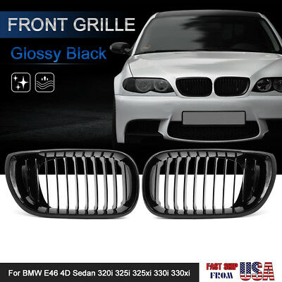2pcs Glossy Black Front Hood Kidney Grille Grill for 2002-2005 E46 4 Door Coupe