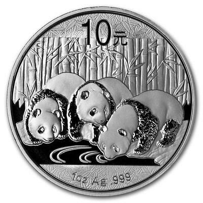 P.R. CHINA - 2013 BU Silver 10 YUAN PANDA 1 oz .999 Silver Coin  in Capsule