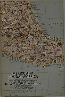 Vintage 1961 National Geographic Map of Mexico and Central America (c)