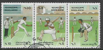 BANGLADESH 1988 ASIA CUP CRICKET Strip of 3 CTO Used (No 3)