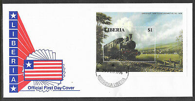 LIBERIA 1996 RAILWAY LOCOMOTIVE TRAINS CRICKET MATCH Souvenir Sheet FDC