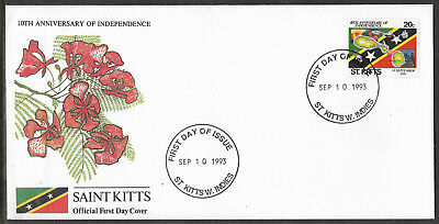 ST KITTS 1993 Independence SINGLE Value CRICKET BAT BALL STUMPS MAP SHIP 1v FDC