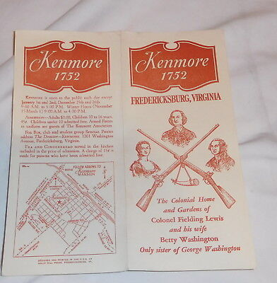 vintage Kenmore 1752 Fredericksburg Virginia brochure George Washington
