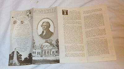 vintage Monticello the Home of Thomas Jefferson Brochure Charlottesville VA