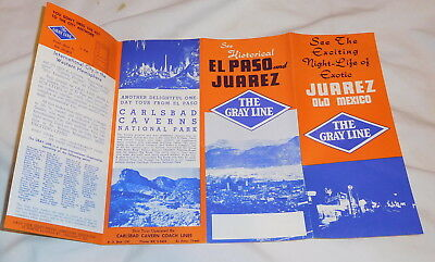 vintage Historical El Paso and Juarez The Gray Line brochure,Texas,Mexico