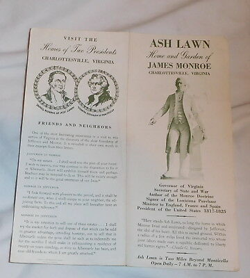 vintage Ash Lawn Home of James Monroe Charlottesville Virginia brochure