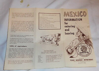 vintage Mexico Information for Entering and Leaving Brochure Texas highway dept