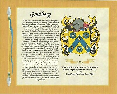 10 x 8 Coat of Arms & Surname Meaning on 100g premium paper ~  Border Choice