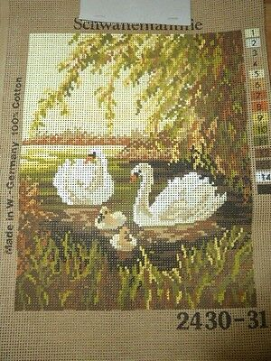 Vintage Printed Tapestry Canvas Swans & Cygnets Made In Germany 24.0 - 31