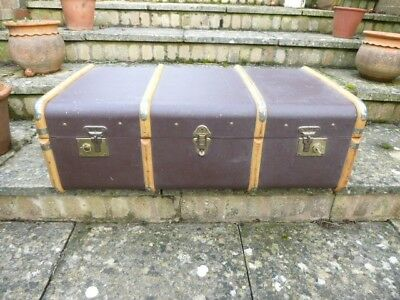 Large Vintage Cabin Trunk bound with wood, leather handles, locks with key