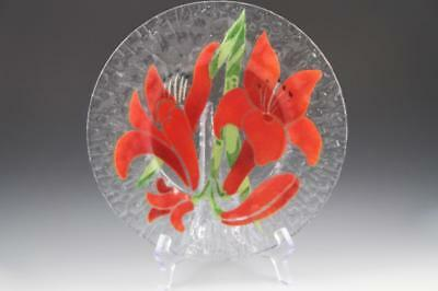 Sydenstricker Fused Art Glass Red Hibiscus Flower Textured Plate ~Cape Cod,MA