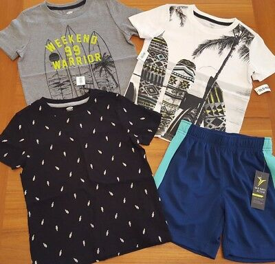 NEW Old Navy Boys SZ 5 Clothing Lot TEES & SHORTS Summer 4 PIECES Surf #7-59-218