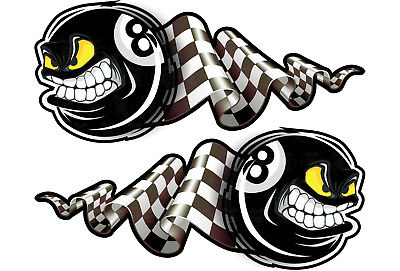 2er S Oldschool Aufkleber 8 Ball retro Sticker Flagge Tuning Racing EIghtball