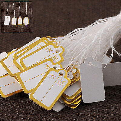 100Pcs Product Label Blank Elastic String White Kraft Paper Price Tags CHIC