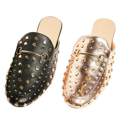 Womens Rose Gold Studded Snaffle Loafer Mule Slippers Ladies Slip On Flat Shoes