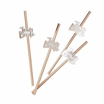 Rose Gold Foiled Team Bride Flags Hen Party Paper Straws x 16 Pack