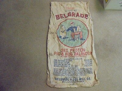 Vintage Belgrade Flour Cloth Feed Sack, Uncle Sam, Pigs  Minnesota Minn. MN