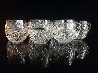 """7 Stuart Crystal Mansfield Punch Cups 2 3/4"""""""