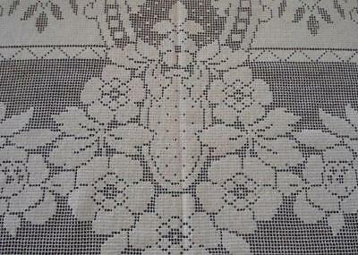 Vintage Embroidered Lace Tablecloth Deco Scrolls Pineapple Floral Ecru 63""
