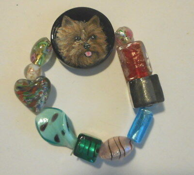 Red Cairn Terrier  Dog Beaded Bracelet Hand Painted