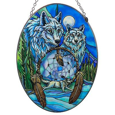 """Wolves With Dream Catcher Wolf Suncatcher Hand Painted Glass AMIA 8.75"""" x 6.5"""""""