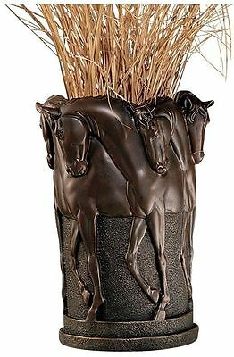 Rustic Western Horse Stallion Sculpture Vase Horses Vessel Statue Home Decor
