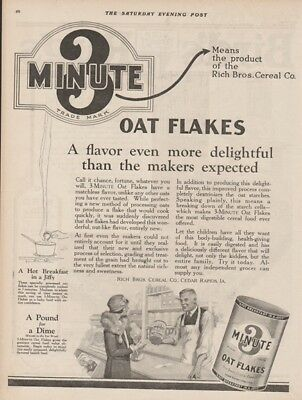 1923 Rich Bros Cereal Cedar Rapids IA 3 Minute Oat Flakes Breakfast Kitchen Ad