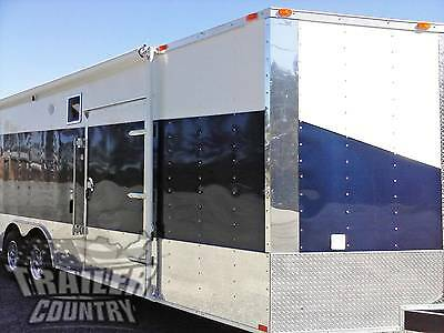 New 2018 8.5 X 24 V-Nose Enclosed Cargo Car Hauler Trailer Loaded Race Package 3