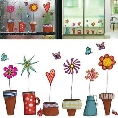 Colorful Pot Plants Flower Butterfly Window Home Room Wall Stickers Art Decals L