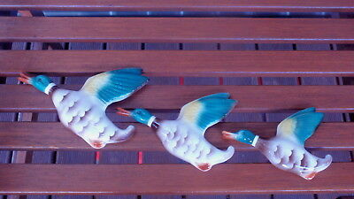 Vintage Flying Ducks Wall Plaques ~ Set of 3 Keele St Pottery England
