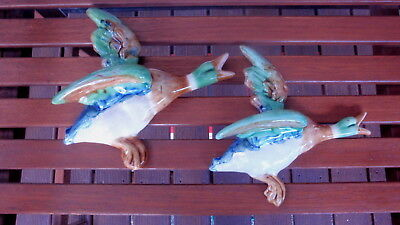 Vintage Pair of Flying Ducks on the Wall Plaques