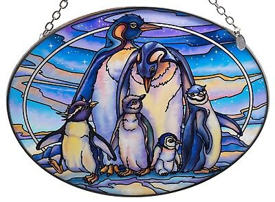 "Penguins and Chicks Suncatcher Hand Painted Glass By AMIA Studios 7"" x 5"""