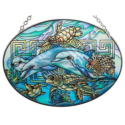 "Dolphins & Sea Turtles Suncatcher Hand Painted Glass By AMIA Studios 7"" x 5"""