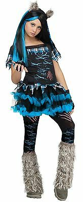 Girls 5 Piece Wicked Werewolf Wolf Halloween Fancy Dress Costume Outfit 4-12 yrs