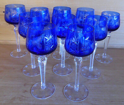 "10 x Vintage Blue Cut 8"" Tall Wine/Hock Glasses Goblets ?Bohemia/Czech"