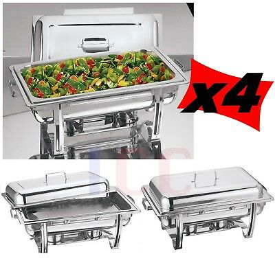 4 LARGE chafing dish chaffing warmer tray lid cater buffet party 8.5L catering