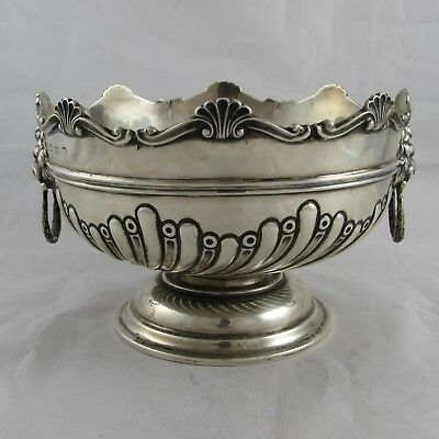 ANTIQUE EDWARDIAN SILVER MONTEITH STYLE ROSE BOWL LION HANDLES 1902 357 g