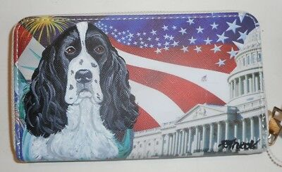 English Springer Spaniel dog Hand Painted Leather Ladies Wallet