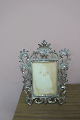 """Antique Victorian Ornate Rococo Cast Iron Easel Back Picture Mirror Frame 9""""x13"""""""