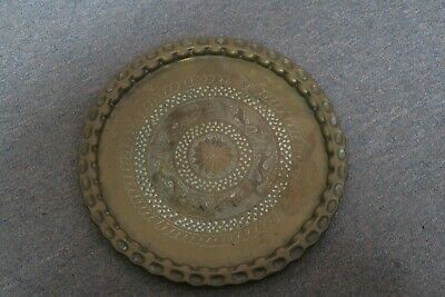 """Vintage  Embossed Etched Copper ? Brass ? Tray 13"""" Round Scalloped Rim"""