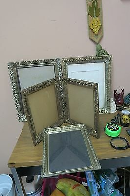 Lot of 4 ( one is Double ) Vintage Ornate Filigree Gold Metal Picture Frames