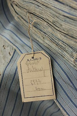 Vintage fabric French UNUSED blue clothing shirting upholstery weight PER YARD