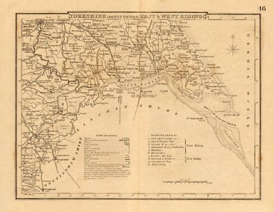 Antique county map of South YORKSHIRE by COLE & ROPER. Humber estuary c1835