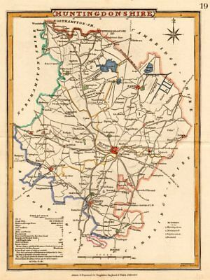 Antique county map of HUNTINGDONSHIRE by George COLE & John ROPER c1835