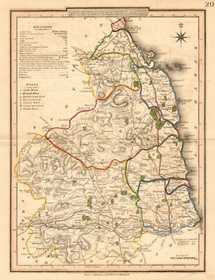 Antique county map of NORTHUMBERLAND by George COLE & John ROPER. OOC c1835