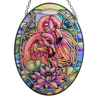 "Pink Flamingos Suncatcher Hand Painted Glass By AMIA Studios 7"" x 5"""