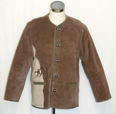 "LEATHER Over Coat JACKET Men BROWN Winter Hunting Shooting Western 50 C44"" Large"