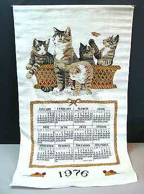 "1976 Linen Calendar 17.5x29"" Basket Cats Kittens Medium Weave Jackson FREE SH"