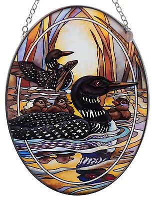 """Loons Forever Wild Suncatcher Hand Painted Glass By AMIA Studios 7"""" x 5"""""""