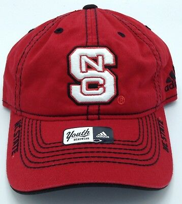 dc92b4a5390 NCAA North Carolina State Wolfpack Adidas Youth Slouch Curved Brim Snap  Back Cap
